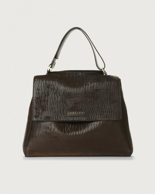 Orciani Sveva Cutting medium leather shoulder bag with strap Leather Chocolate