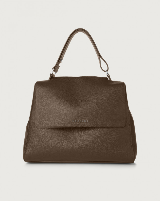 Orciani Sveva Micron medium leather shoulder bag with strap Leather Brown