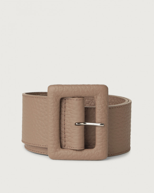 Orciani Soft high waist leather belt with covered buckle Leather Taupe