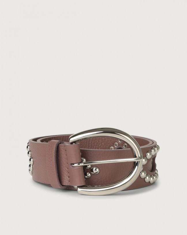 Orciani Micron leather belt with studs Leather Mauve