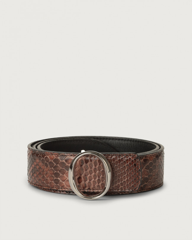 Orciani Diamond python leather belt with monogram buckle Python Leather Cocoa brown