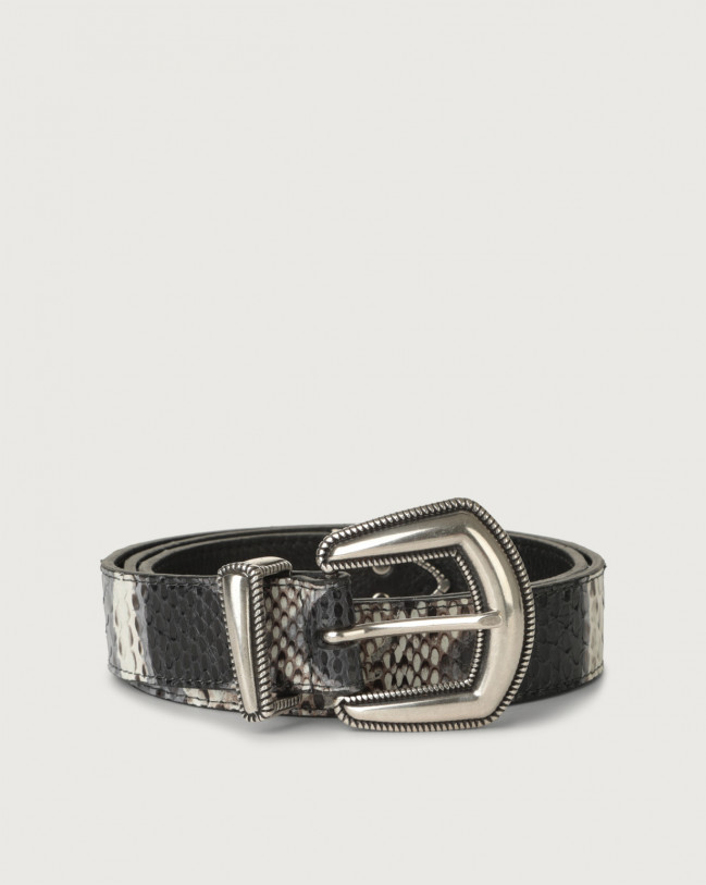 Orciani Naponos western details python leather belt Python Leather Grey