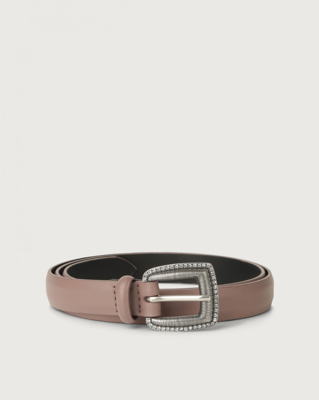 Orciani Liberty thin leather belt Leather Pink taupe