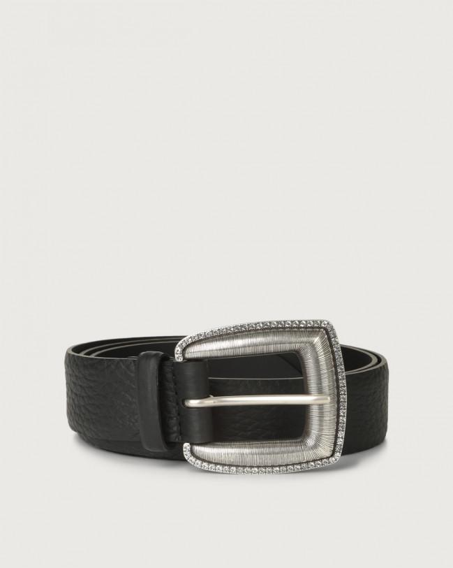 Orciani Soft leather belt 3,5 cm Leather Black