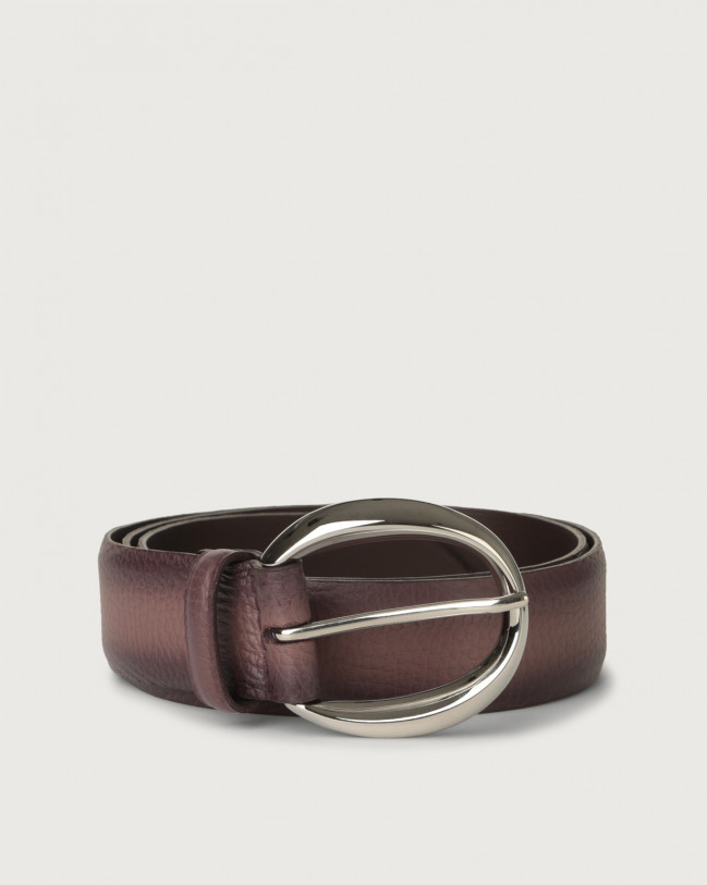 Orciani Micron Deep leather belt 3,5 cm Leather Mauve