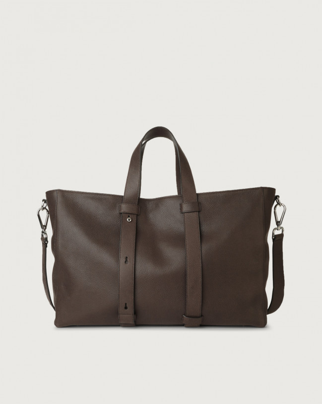 Orciani Chevrette leather weekender bag Leather Chocolate