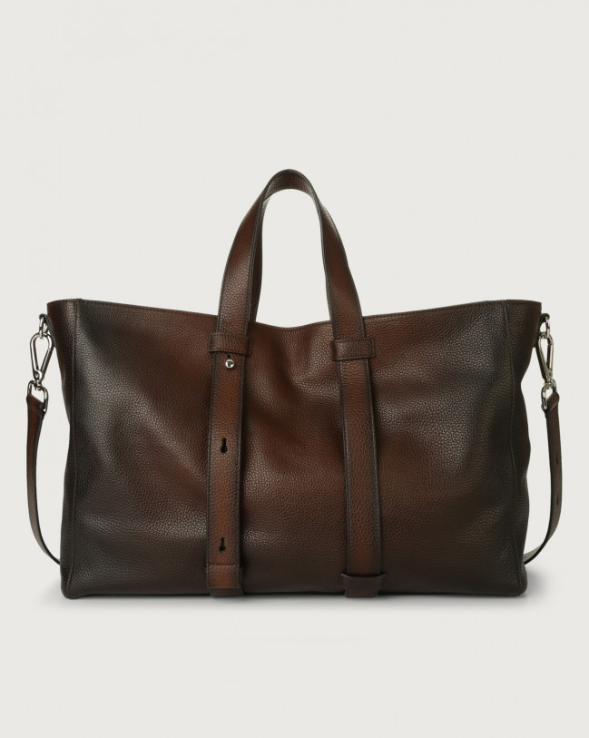 Orciani Micron Deep leather weekender bag Leather Brown