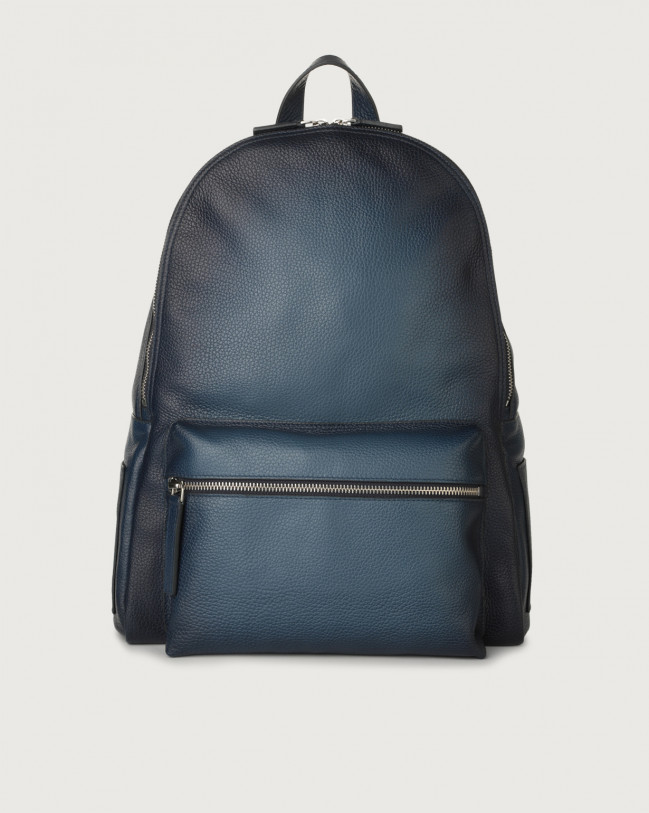 Orciani Micron Deep leather backpack Leather Blue