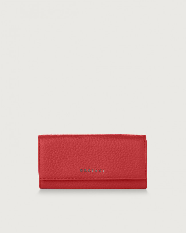 Orciani Soft leather envelope wallet with RFID Leather Marlboro red