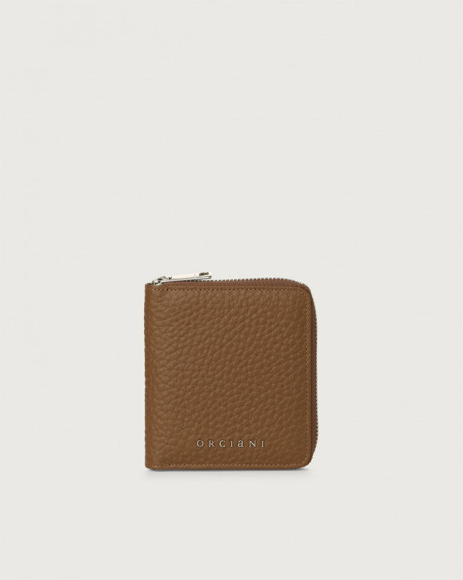 Orciani Soft small leather wallet with zip with RFID Leather Caramel
