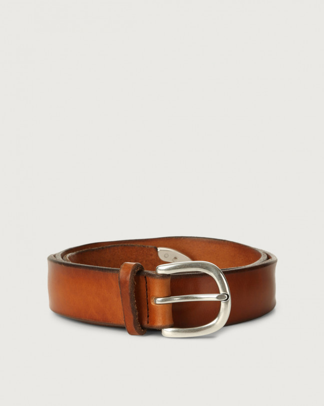 Orciani Bull soft leather belt Leather Cognac