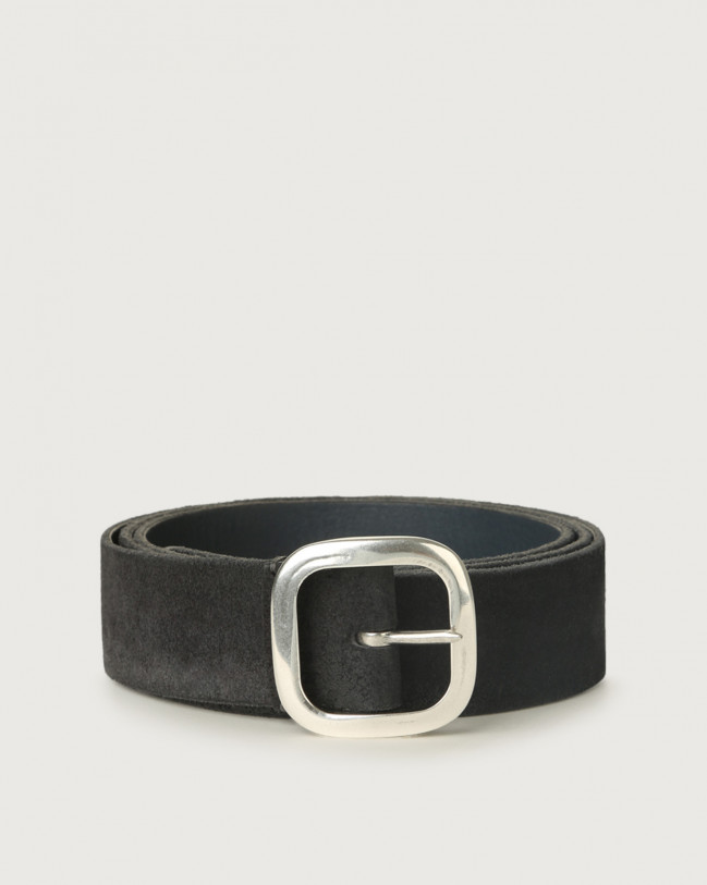 Orciani Hunting Double suede and leather belt 3,5 cm Leather, Suede Grey