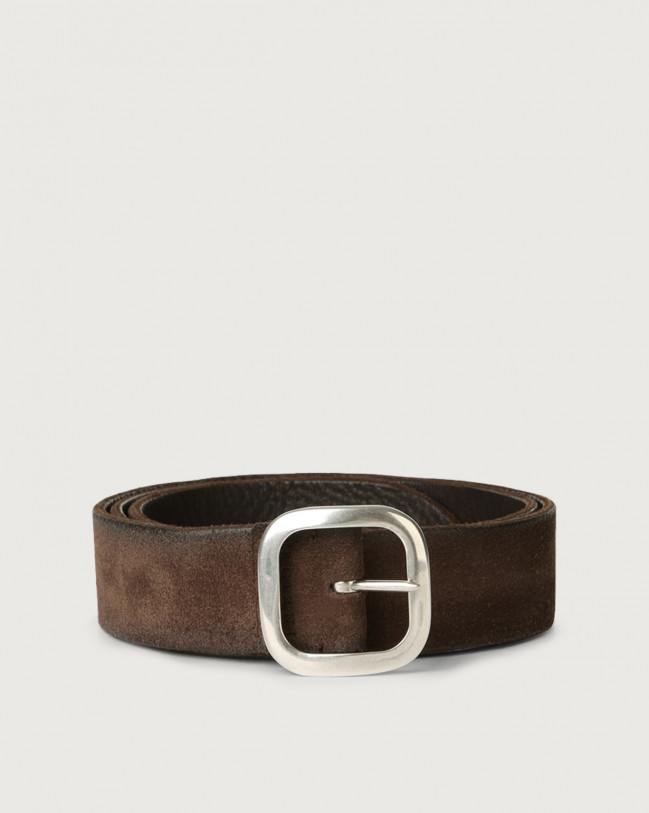 Orciani Hunting Double suede and leather belt 3,5 cm Leather, Suede Chocolate