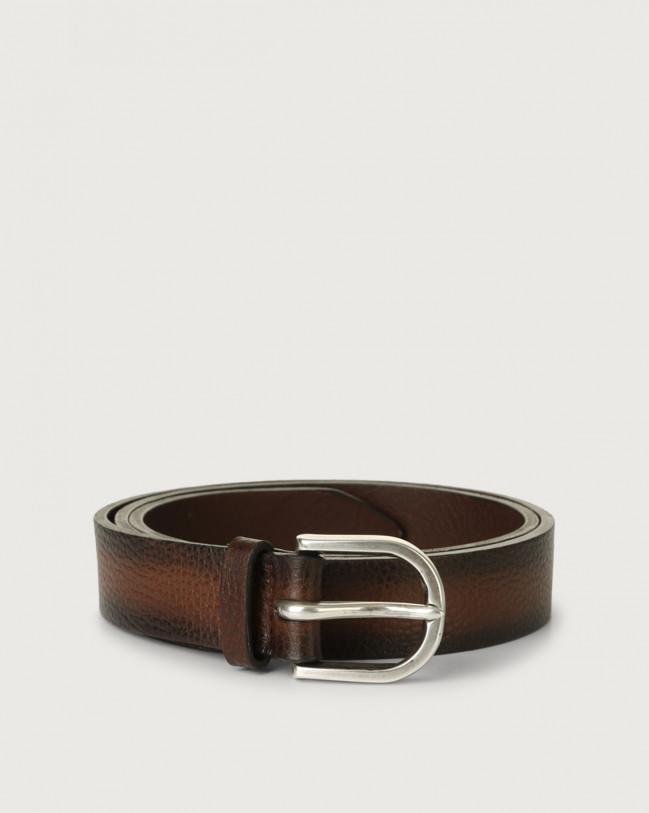 Orciani Dollaro Deep leather belt Leather Cognac