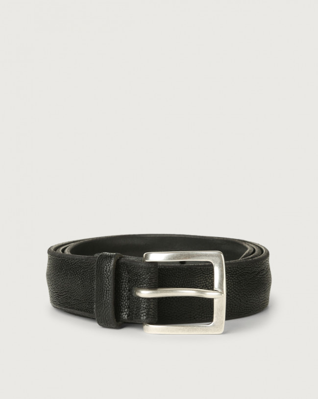 Orciani Frog leather belt 3,5 cm Embossed leather Black