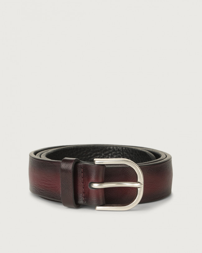 Orciani Saffiano Deep classic leather belt Leather Bordeaux