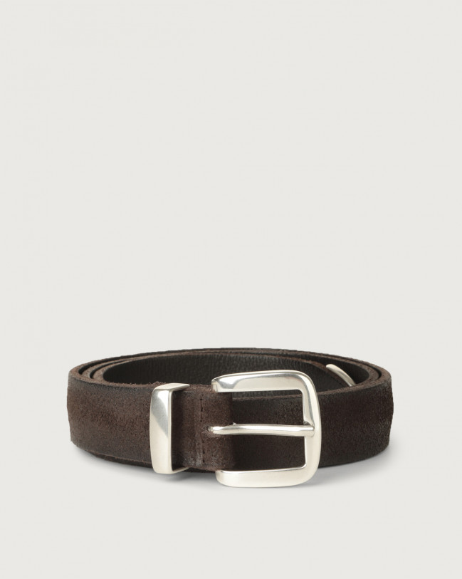 Orciani Hunting brushed suede belt with metal loop and tip Suede Chocolate