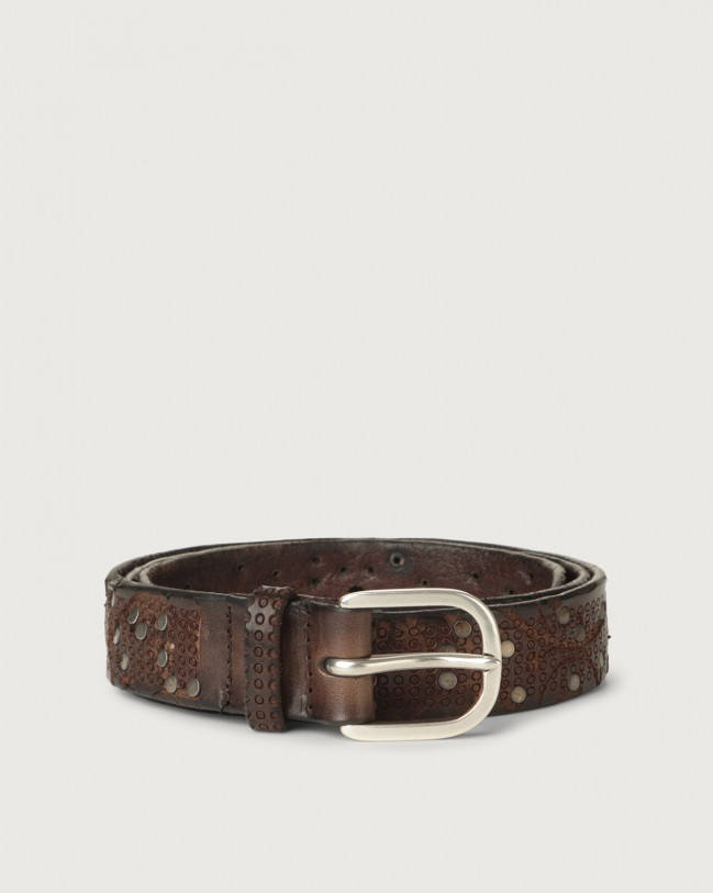 Orciani Stain micro-studs leather belt Leather Chocolate