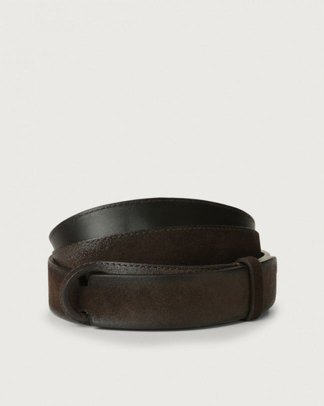 Orciani Cloudy suede Nobuckle belt Suede Chocolate