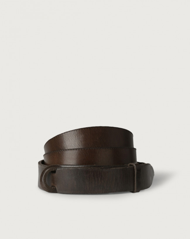 Orciani Dive leather Nobuckle belt Leather Chocolate
