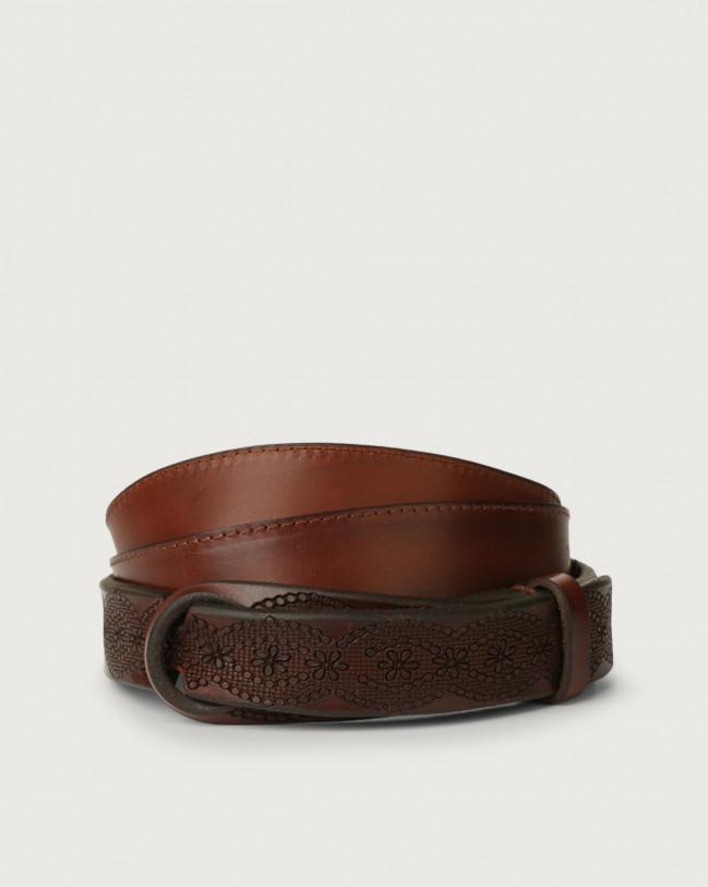 Orciani Bull Soft leather Nobuckle belt Leather Burnt