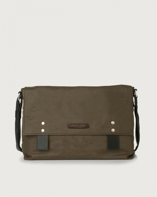 Orciani Leisure fabric and leather messenger bag Leather & fabric Chocolate