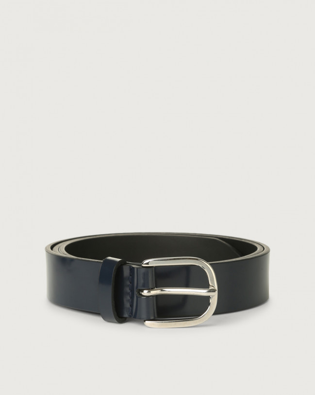 Orciani Bright classic patent leather belt Leather Blue