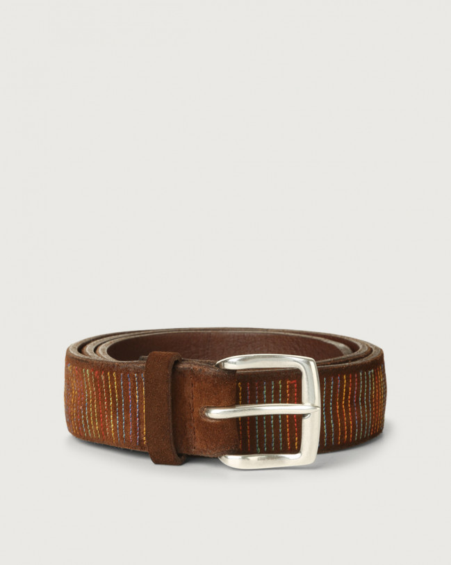 Orciani Cloudy Stripe suede leather belt Suede Brown