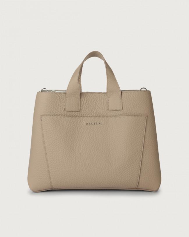 Orciani Nora Soft large leather handbag Sand