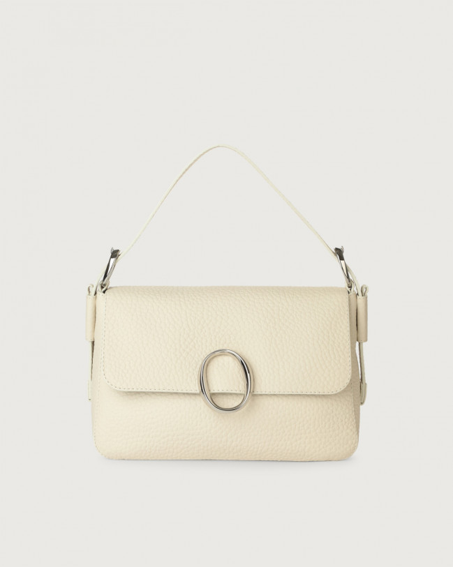 Orciani Soho Soft leather baguette bag with strap Leather Ivory