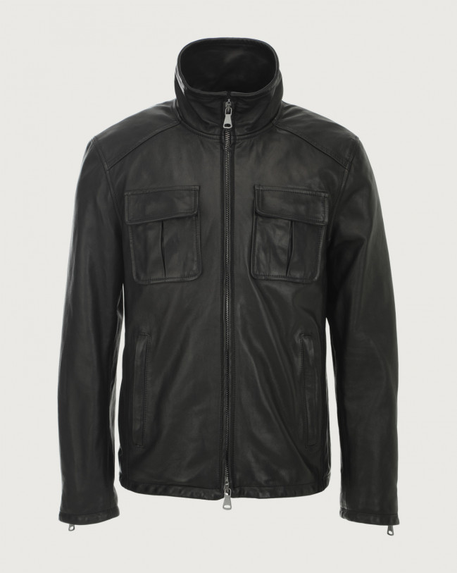 Orciani Denver leather jacket Leather Black
