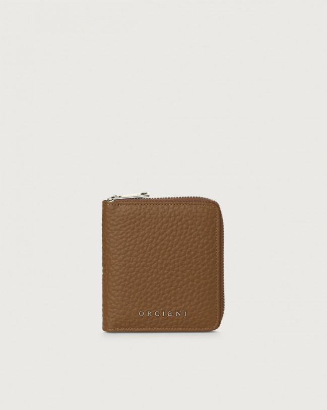 Orciani Soft small leather wallet with zip Leather Caramel