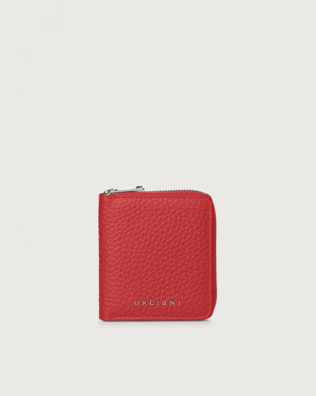 Orciani Soft small leather wallet with zip Leather Red