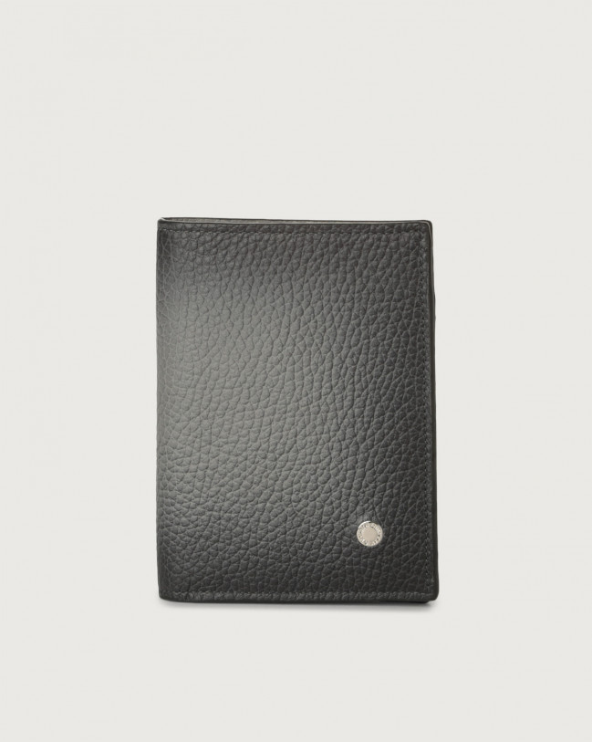 Orciani Micron Deep leather vertical wallet with RFID Leather Brown