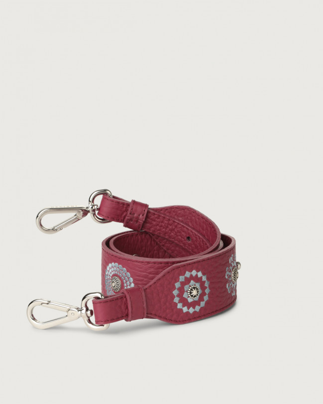 Orciani Soft embroidered leather strap Leather Purple