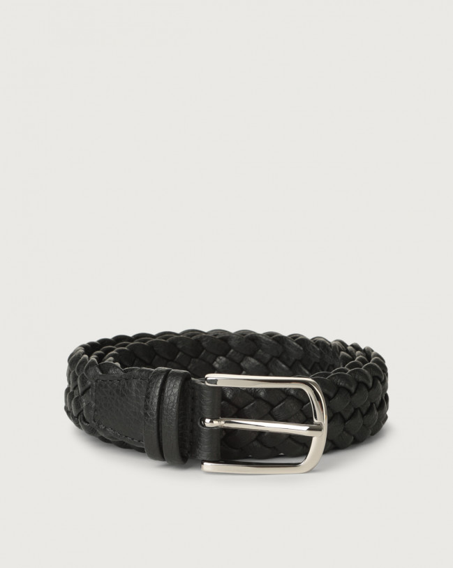 Orciani Micron braided leather belt Leather Black