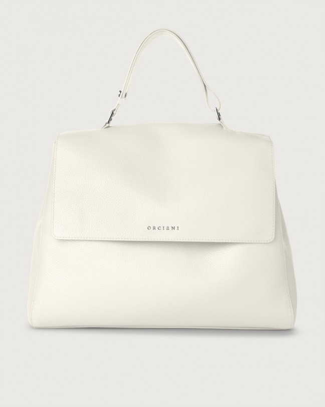 Orciani Sveva Micron large leather shoulder bag with strap White