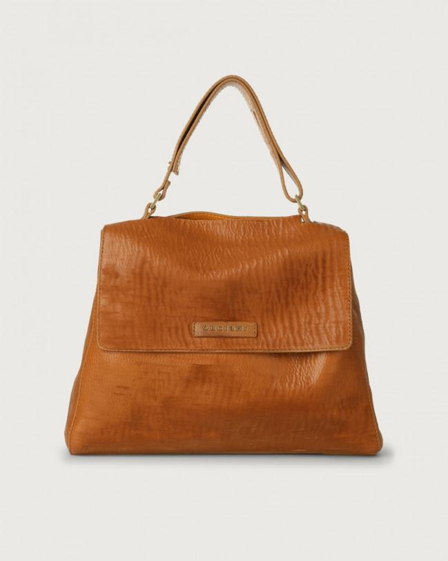 Orciani Sveva Cutting medium leather shoulder bag with strap Leather Papaya