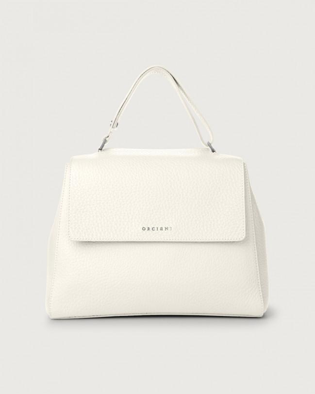 Orciani Sveva Soft medium leather shoulder bag with strap Leather White