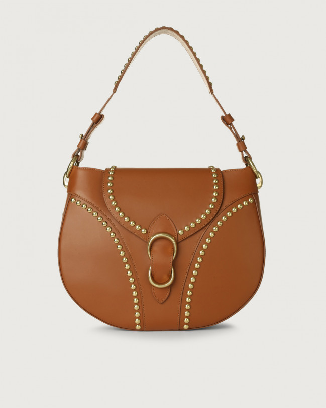 Orciani Beth Piuma Ball leather shoulder bag with brass details Leather Cognac