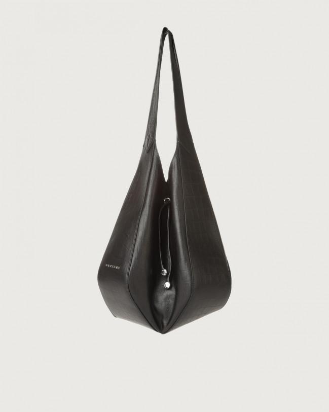 Orciani Palma Kindu croc-effect leather shoulder bag Embossed leather Black
