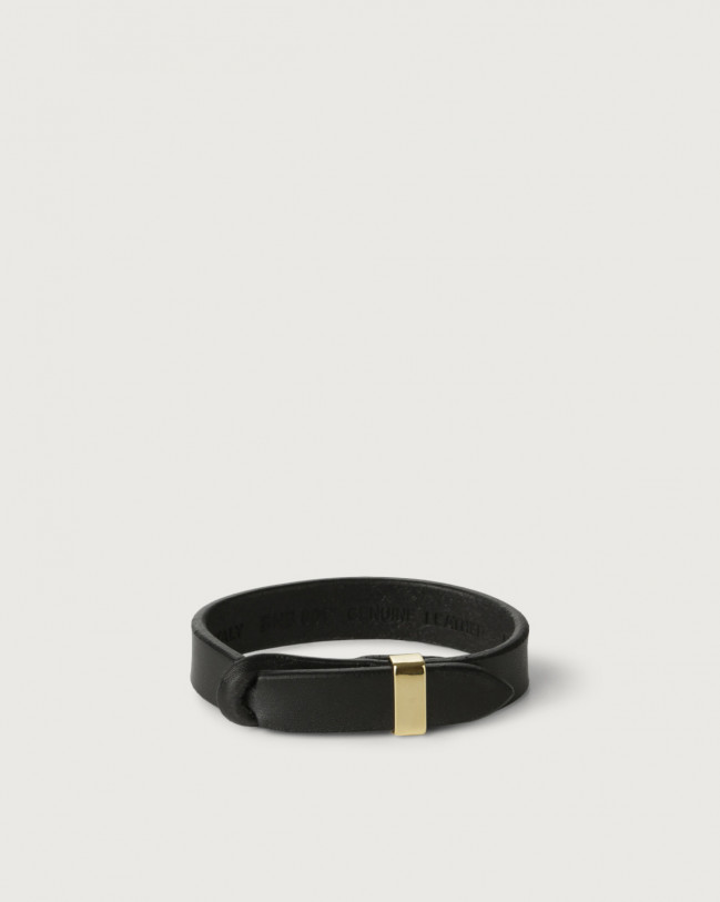 Orciani Bull leather Nobuckle bracelet with gold detail Leather Black