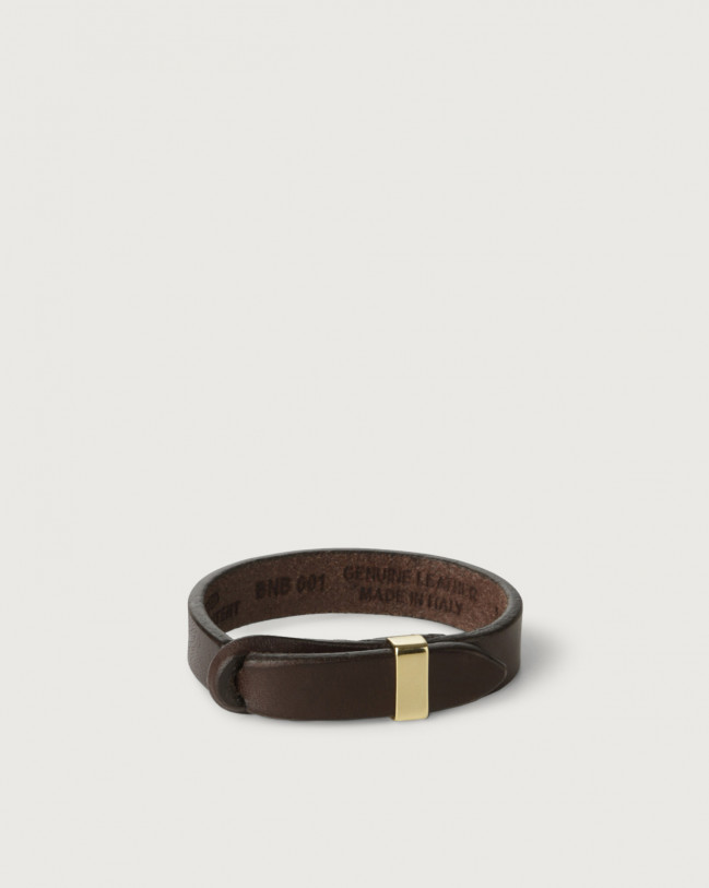 Orciani Bull leather Nobuckle bracelet with gold detail Leather Chocolate