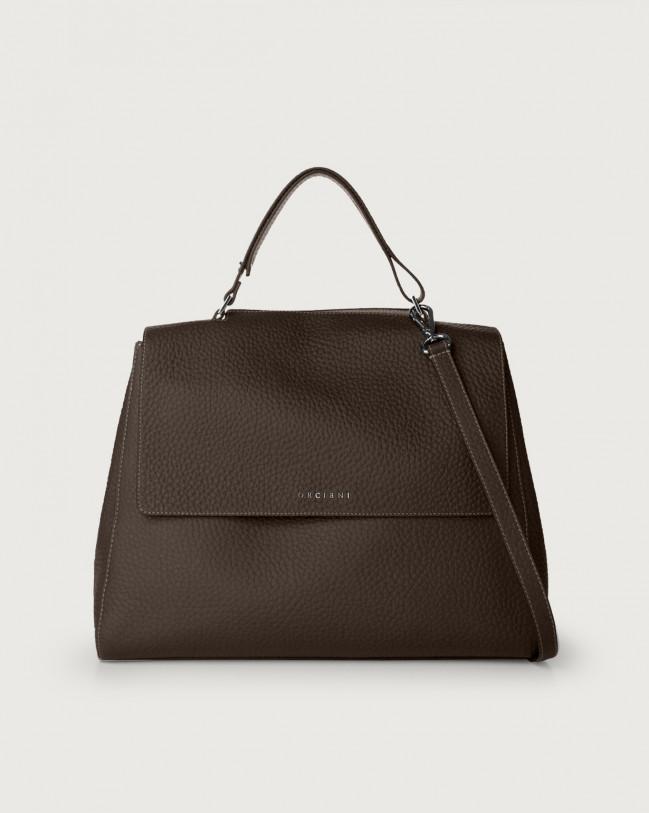 Orciani Sveva Soft large leather shoulder bag with strap Leather Chocolate