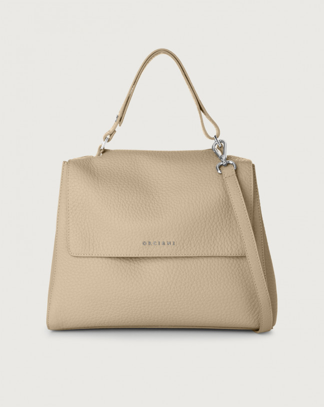 Orciani Sveva Soft medium leather shoulder bag with strap Leather Sand