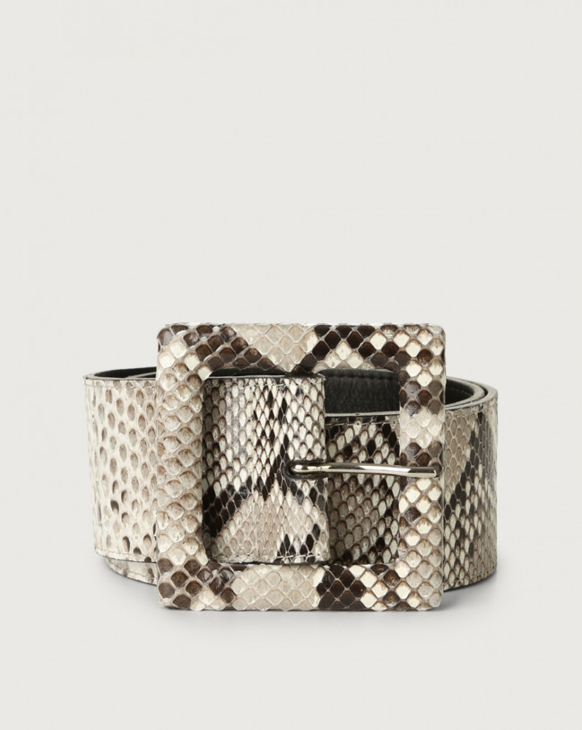 Orciani Diamond high waist python leather belt with covered buckle Python Leather White