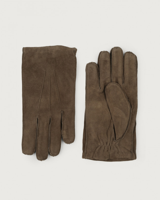 Orciani Shiver suede gloves Cashmere, Suede, Wool Taupe