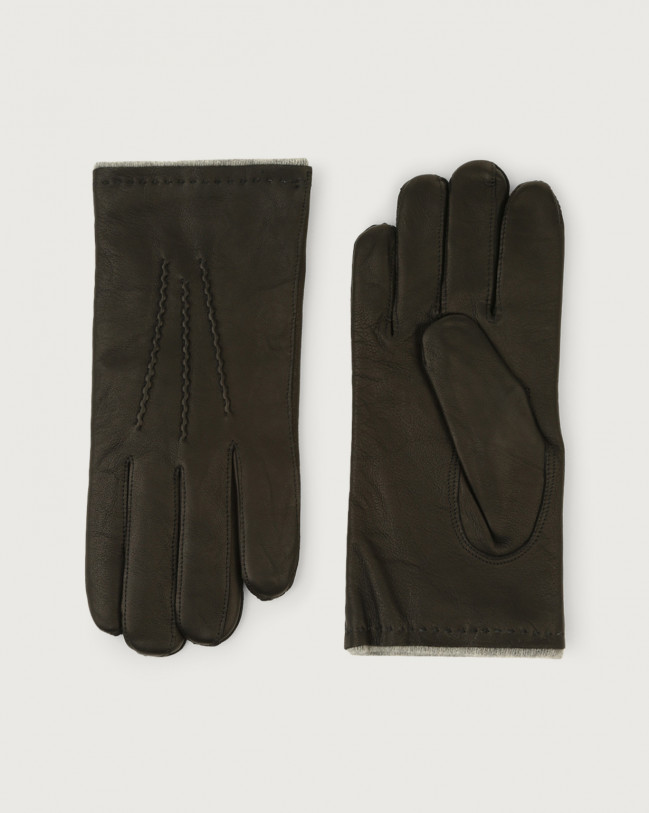 Orciani Nappa Washed leather gloves Cashmere, Wool Black