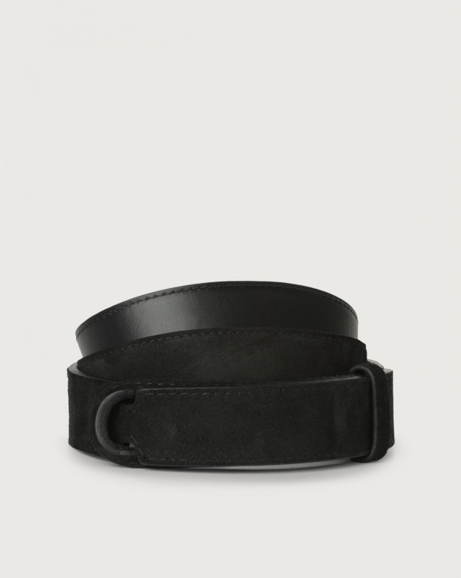 Orciani Camoscio suede and leather Nobuckle belt Suede Black