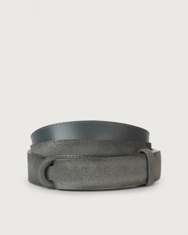 Orciani Cloudy suede Nobuckle belt Leather, Suede Grey